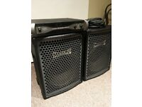 "Matamp PA Speakers 15"" Drivers With Horns + QSC Power Amp"