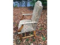 Two lovely Carver Chairs/ Library Chairs. Upholstered Oak with brass nail detail.