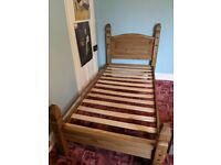 Solid pine single bed with pocket sprung mattress