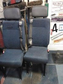 3 mini bus seats complete with seat belts and frame ready to bolt in