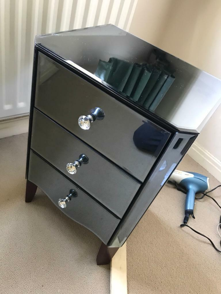 Mirror And Painted Bedside Table: Dunelm Mill Viola Smoked Mirrored Bedside Table