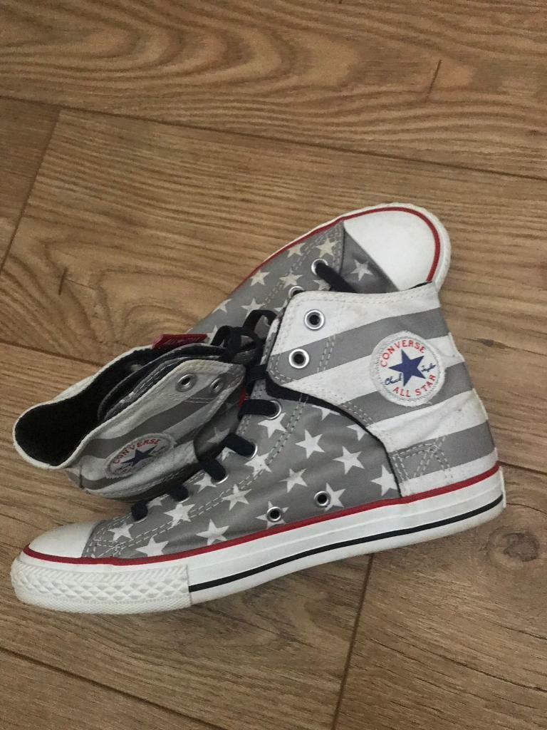 cd465cad47212c Converse High Tops Grey All Star Hi with White Stars trainers gym boots UK  5.5