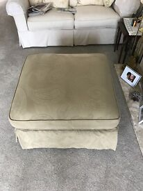 Large DFS St.Ives style square pouffe in sage green with removable cushion and valance