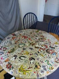 Custom table tattoo decorated