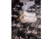 Crosshatch white trainers