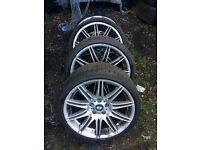 bmw e92 3 series nv4 alloy wheel set for sale with bridgestone 19 run flat tyres call thanks