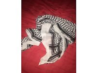Black and White Silky Pashmina
