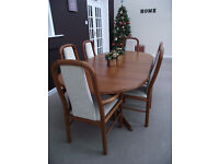 Danish Benny Linden Solid Teak Extending Dining Table and 6 Chairs (includes Carvers)