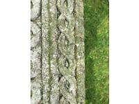 PAIR large solid square lattice weave stone/concrete planters/pots 25cm h x30 sq