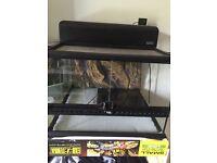 Exo Terra glass Vivarium, dual heat canopy and heat mat for sale