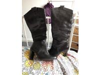 Ladies Knee High Leather Boots - Size 3