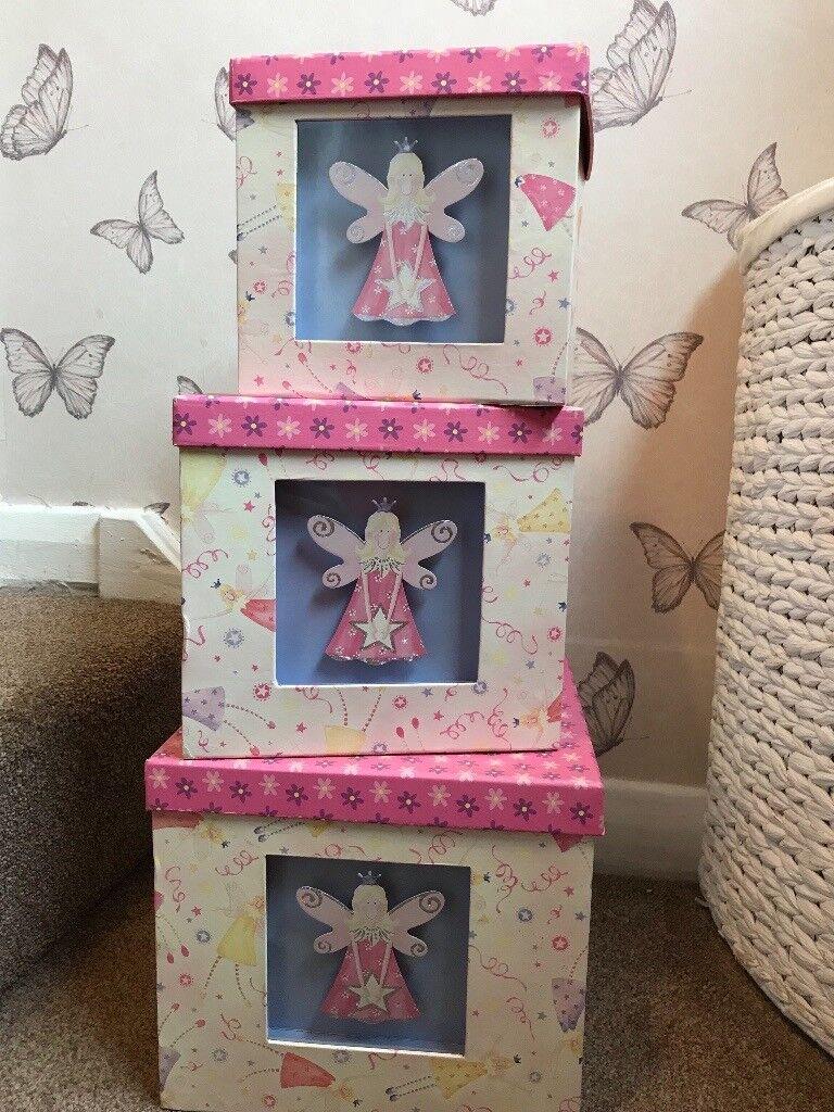 Set of 3 Fairy storage boxes