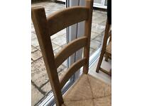 High Back Solid Oak Dining Chairs x8
