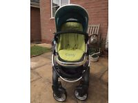 iCandy Peach 1 stroller/buggy/pushchair in sweetpea (used) - incl.matching footmuff