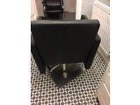 Black salon hairdressing chair