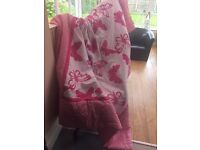 Girls Butterfly bed throw