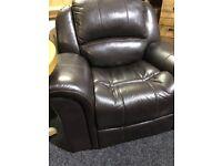 Dark brown leather recliner armchair