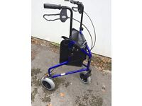 Three wheeler tri walker. Disability/elderly aid. Collapsible blue with bag/basket and brakes