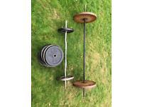 Weights 20kg 10kg Bicep bar + squat bar