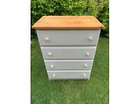 Shabby chic pine chest of drawers