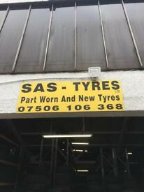7mm partly worn tyres in stock today