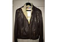 Ted Baker chocolate brown leather jacket size 2