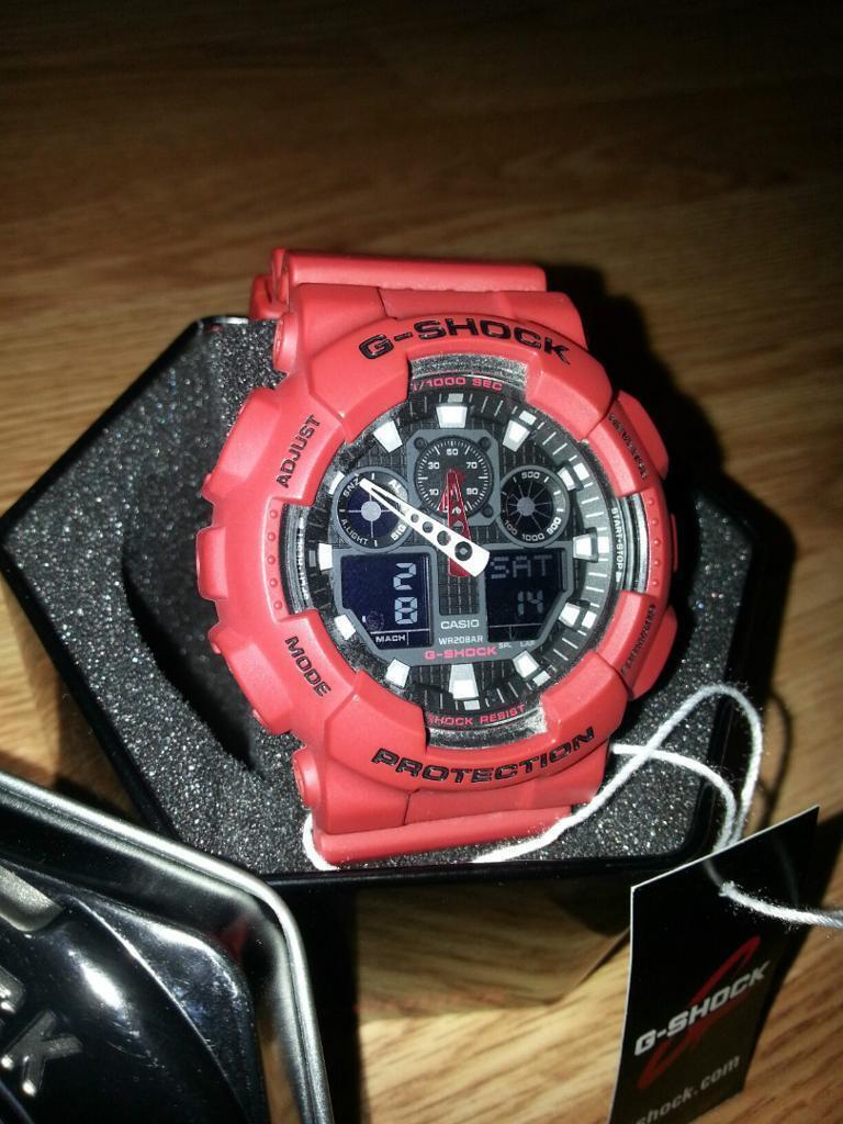 Mens Casio G Shock Ga100b 4a X Large Red Watch In Limehouse Ga 100b 4adr