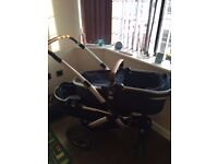 joolz tandum pushchair twin with carry cots