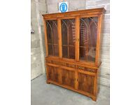 Yew Wood Display Cabinet/Bookcase - Excellent Condition