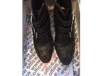 Office 'Nighthawk Stud' Black leather boots size 5/38