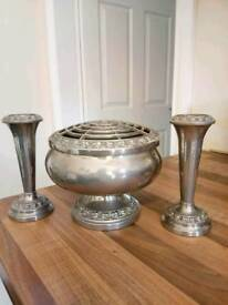 SILVER PLATED LANTHE ROSE BOWL AND 2 FOLWER BUD VASES.
