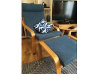 SOLD - Armchair and footstool (IKEA Poang)