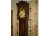 Antique Scottish Longcase Grandfather 8 Day Clock with painted dial by Jas Rankin of Kilmarnock