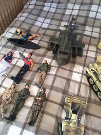 Army action man figures and vehicles