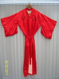 Vintage red embroidered Kimono robe or dressing gown