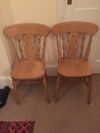 Two pine chairs