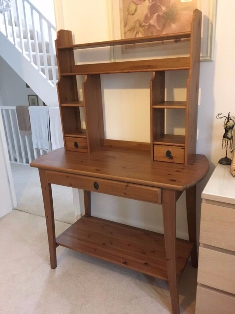 Ikea Leksvik Solid Wood Desk With Top Shelf