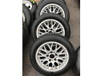 "16"" BMW ALLOY WHEELS WITH TYRES 5x120 7J"
