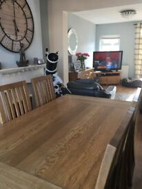 Solid wood table and six chairs, solid wood sideboard