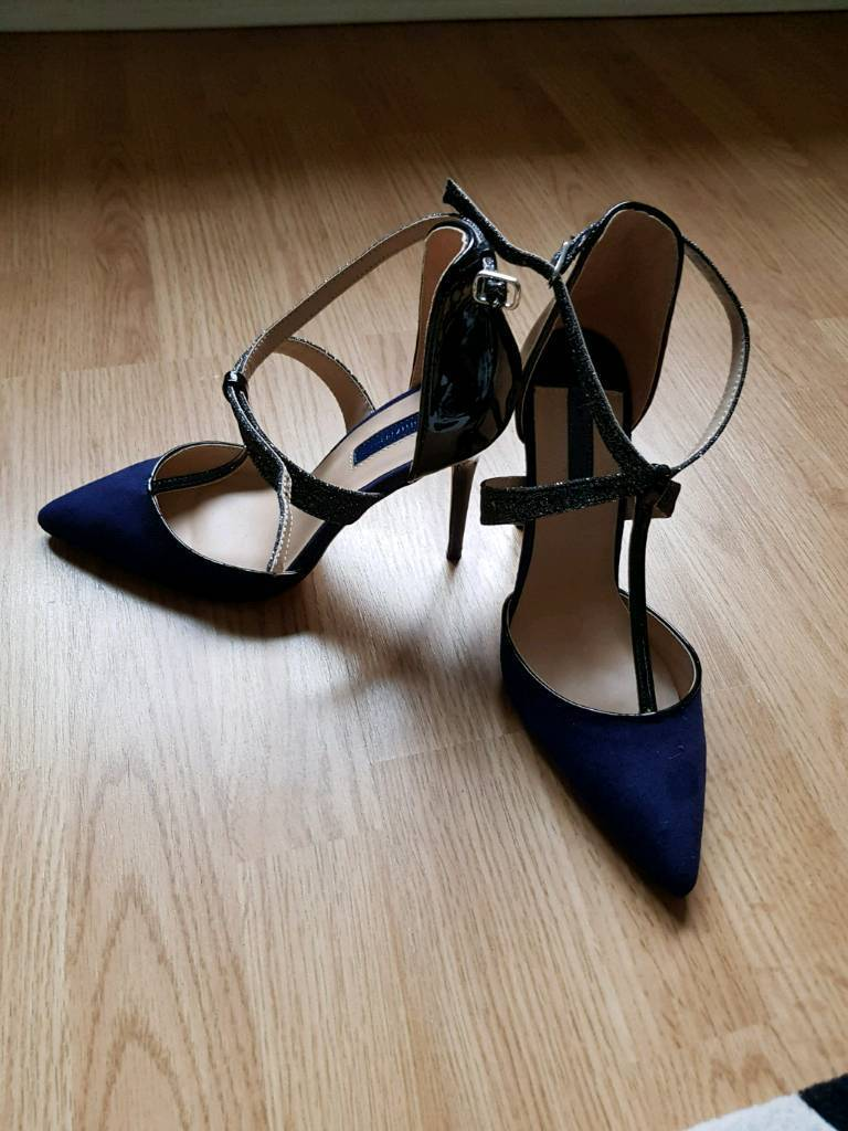 cbd7c6c18d6e Brand new navy blue high heeled shoes with sparkly strap | in ...
