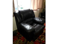 DFS REAL BROWN LEATHER 3 SEATER RECLINING SOFA AND CHAIR. GOOD CONDITION.