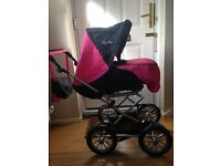 Dolls Silver Cross Sleepover Pram deluxe set with accompanying bag.