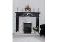 Solid Marble and wood Fireplace surround