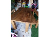 INDIGO FURNITURE 4FT TABLE WITH 2 SEATER BENCH AND 2 STOOLS