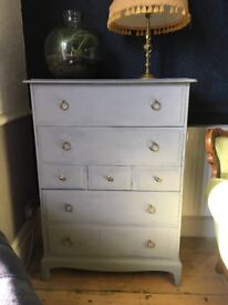 STAG TALL BOY CHEST OF DRAWERS SHABBY CHIC VINTAGE RETRO
