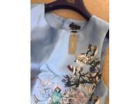 Blue with floral designer dress J Crew size 14