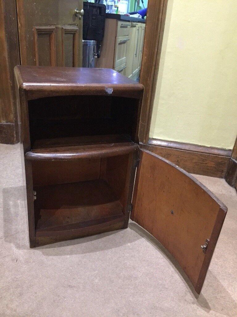 Dark Wood Veneer Vintage Bedside Cabinet