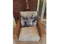 MARKS & SPENCER GREY/BLACK STAG CUSHIONS X 2 VGC