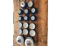 Denby Langley chatsworth blue stoneware 23 items cups, serving dishes etc