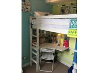 white wooden loft bed with desk in good condition